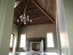T & G barn wood paneling; Used on a ceiling in a great room;