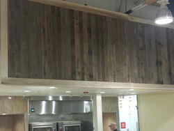 T & G barn wood; Accent wall in a Deli