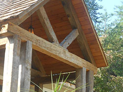 Hand hewn heart pine truss entrance