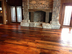 Heart pine / Hemlock mixed antique floor; Saw marks showing; 3-4-5-6-7-8 inch faces