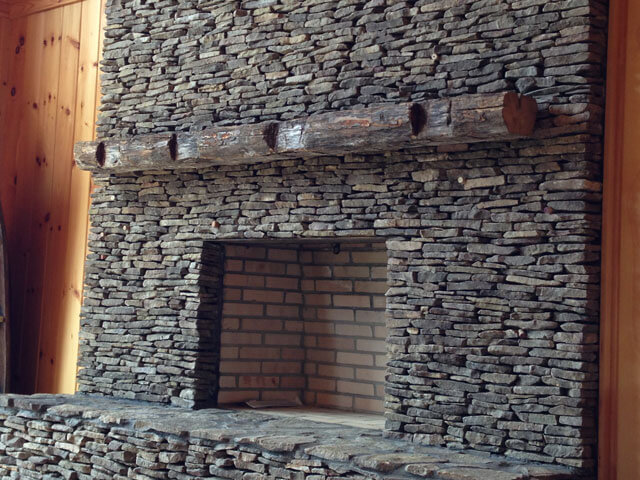 White Fireplace With Wood Mantle