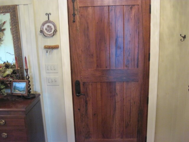 Mixed barn wood door, flat panels ... - Moulding & Millwork NC Recycled Lumber Antique Wood Flooring