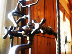 Interior Chestnut door , vintage faucet